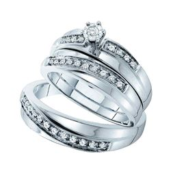 0.25 CTW His & Hers Diamond Solitaire Matching Bridal Ring 14KT White Gold - REF-64Y4X