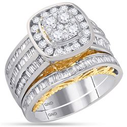 1.83 CTW Diamond Cluster Bridal Engagement Ring 14KT Two-tone Gold - REF-165H2M