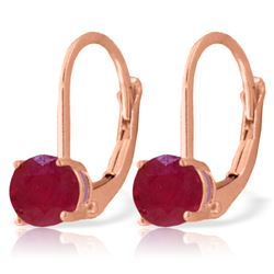 Genuine 1.20 ctw Ruby Earrings Jewelry 14KT Rose Gold - REF-27N2R