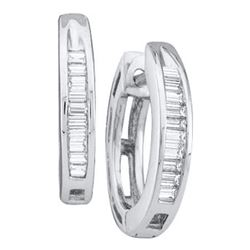 0.15 CTW Diamond Huggie Earrings 14KT White Gold - REF-14H9M