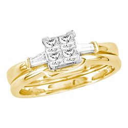0.49 CTW Princess Diamond Bridal Engagement Ring 14KT Yellow Gold - REF-67F4N