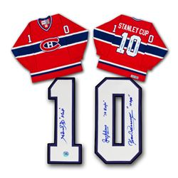 Beliveau Richard Cournoyer Montreal Canadiens Signed 10 Stanley Cup Champ Jersey