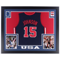 "Magic Johnson Signed USA ""Dream Team"" 35 x 43 Custom Framed Jersey (JSA COA)"