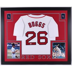 Wade Boggs Signed Red Sox 35 x 43 Custom Framed Jersey (JSA COA)