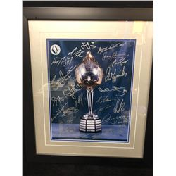 HART TROPHY FRAMED PRINT AUTOGRAPHED BY MANY W/ GRETZKY, GEOFFRION, ORR, ESPOSITO, HULL, BELIVEAU