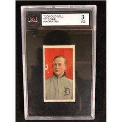 T206 OLD MILL TY COBB -PORTRAIT RED- (3 VG) KSA GRADED