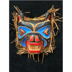 "HAND CARVED NATIVE WALL MASK ""BEAR"" BY ANDY WESLEY (12"" x 12"")"