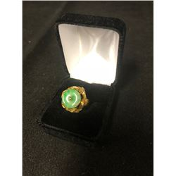 AMAZING HUGE 14K YELLOW GOLD FLOWER RING WITH JADE CENTER