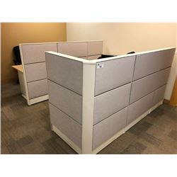 TEKNION 2 PERSON OFFICE CUBICLE STATION WITH MAPLE WORK SURFACES AND FILE PEDESTALS