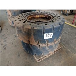 (4) SOLID TIRES AND WHEELS