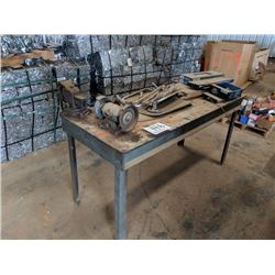 WORK BENCH WITH VICE AND GRINDER