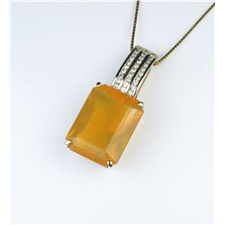 18CAI-25 ORANGE FIRE OPAL & DIAMOND PENDANT