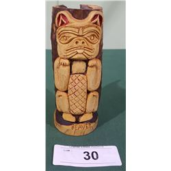 NATIVE CARVING BEAVER TOTEM
