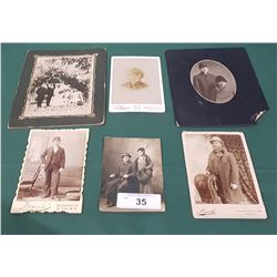 6 ANTIQUE PHOTOGRAPHS ON HARD CARDBOARD