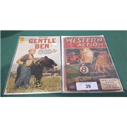 12 CENT GENTLE BEN COMIC (CLINT HOWARD COVER) & 15 CENT WESTERN ACTION COMIC