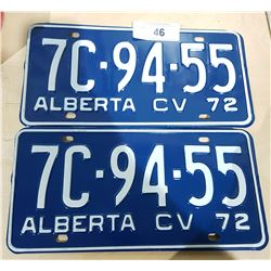 PAIR UNUSED 1972 ALBERTA LICENSE PLATES