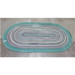 OVAL WOVEN RUG GREEN