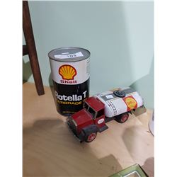 VINTAGE SHELL TIN TOY TRUCK (MISSING WHEEL) & SHELL OIL CAN FULL