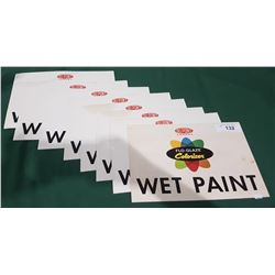 8 VINTAGE WET PAINT CARDBOARD SIGNS