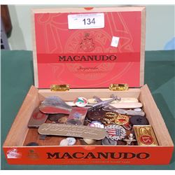 WOOD CIGAR BOX W/COLLECTIBLES