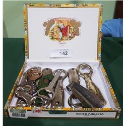 CIGAR BOX CONTAINING 11 VINTAGE BOTTLE OPENERS