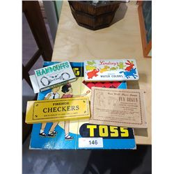 5 PCS OF VINTAGE GAMES, PAINT TIN ETC