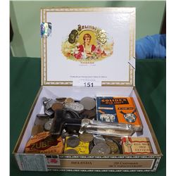 CIGAR BOX W/VINTAGE RAZOR STROP, TINS, WORLD COINS ETC