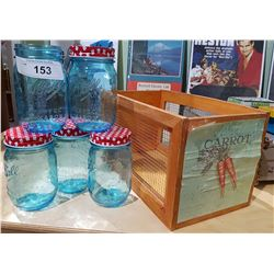 SMALL WOOD CRATE & 5 BLUE CANNING JARS