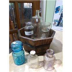 WOOD PLANTER BOX & 8 VINTAGE GLASS BOTTLES