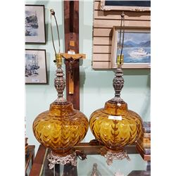 PAIR VINTAGE AMBER GLASS & BRASS TABLE LAMPS