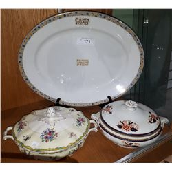 LARGE JG MEAKIN PLATTER & 2 LIDDED CASSEROLE DISHES
