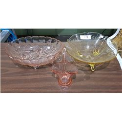 3 PCS REPRODUCTION DEPRESSION GLASS