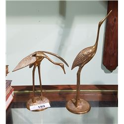 PAIR BRASS CRANE FIGURES