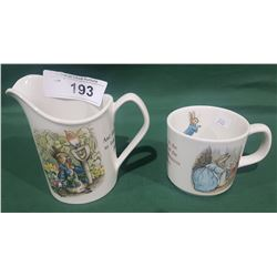 WEDGWOOD BEATRIX POTTER SERIES MILK PITCHER & MUG