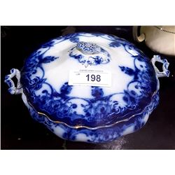 ANTIQUE MYOTT FLOW BLUE LIDDED VEGETABLE DISH
