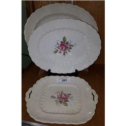 "3 SERVING PCS VINTAGE COPELAND SPODE ""BILLINGSLEY ROSE"""