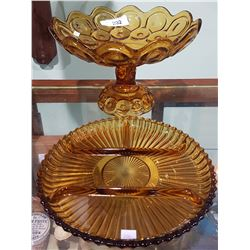 VINTAGE AMBER GLASS COMPOTE & DIVIDED PICKLE TRAY