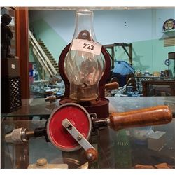 VINTAGE OIL LAMP & HAND DRILL