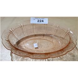 PINK DEPRESSION GLASS OVAL BOWL