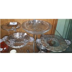 4 STERLING SILVER OVERLAY GLASS DISHES