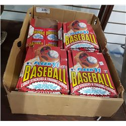 TRAY OF '91 FLEER BASEBALL CARD PACKS UNOPENED