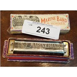 2 VINTAGE HOHNER MARINE BAND HARMONICAS IN ORIGINAL BOXES