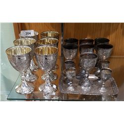 ORNATE 18 PC SILVER PLATE GOBLET SET