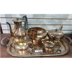 7 PCS SILVERPLATE SERVING WARE