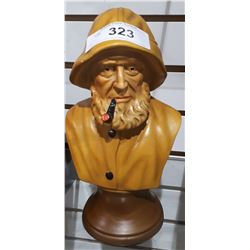 VINTAGE FALCONWARE FISHERMAN BUST