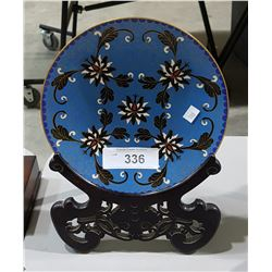 CLOISONNE PLATE ON STAND