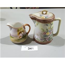 2 HAND PAINTED NIPPON PITCHERS
