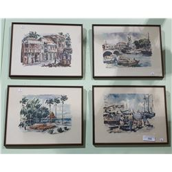 SET OF 4 FRAMED WATER COLOURS OF BARBADOS SIGNED