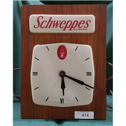 VINTAGE SCHWEPPES LIGHT UP WALL CLOCK
