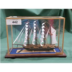 WOODEN MODEL SHIP IN GLASS CASWE